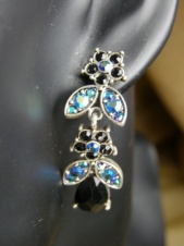 Black and AB Crystal Fashion Earrings