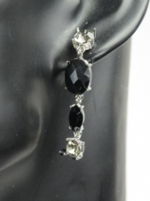 Black and Grey Crystal Drop Earrings