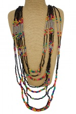 Long Black & Multicolour Bead Layered Necklace