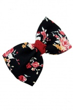 Pretty Black Chintz Flower Print Hair Bow Clip