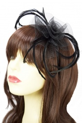 Black Crinoline Hairband Fascinator with Hairband