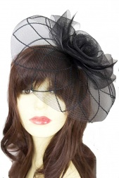 Black Crinoline Clip & Hairband Fascinator