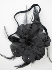 Black Double Fabric Flower Sequin & Feather Elasticated Hairband