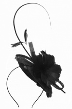 Black Hat Fascinator with Hairband Flower & Quill