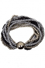 Silver, Black, & Grey Elasticated Beaded Bracelet