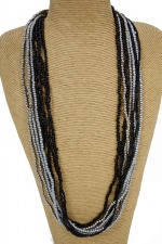 Grey, Black, & Silver Multi Layer Fashion Necklace