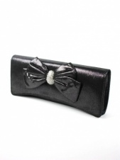 Black Lurex Soft Clutch Bag with Bow and Crystals