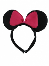 Black and Pink Bow Mouse Ears Hairband
