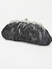 Black Pleated Satin Clutch Bag
