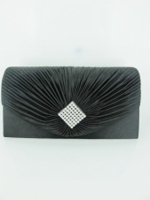 Black Satin and Crystal Clutch Bag