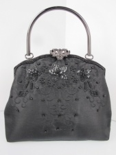 Black Satin Ornate Beaded Flower Evening Hand Bag