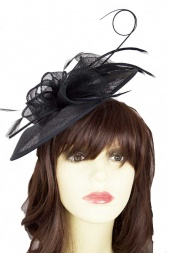 Black Saucer Hat Fascinator with Clip & Hairband