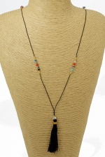 Long Black Tassel Necklace with Crystals & Beads