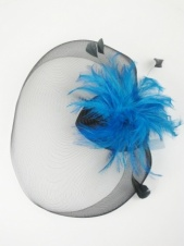 Black and Teal Blue Crinoline Veil Clip Fascinator