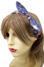 Blue Pretty Floral Fabric Elasticated Hairband