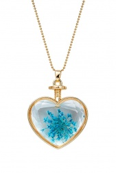 Long Gold & Glass Heart Pendant with Pressed Blue Flower