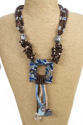 Ethnic Blue and Brown Beaded Necklace