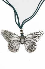 Silver Butterfly Pendant with Duck Egg Blue Suede Cord