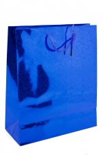 24 x Small Blue Foil Hologram Christmas Gift Bags