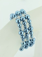 Glass Pearl Elasticated Triple Row Blue Bracelet