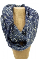 Blue & Gold Thread Knitted Wood Snood
