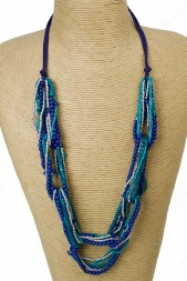 Blue Tone Pretty Bead Adjustable Necklace