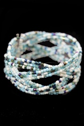 Blue Tone Beaded Wraparound Bracelet