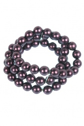 Purple Glass Pearl Bead Triple Row Elasticated Bracelet