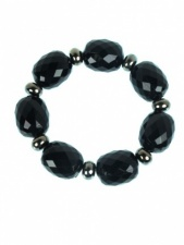 Black Faceted Bead Elasticated Fashion Bracelet