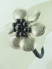 Silver and Black Flower Bangle