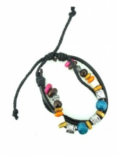Mens Beaded Leather Multi Strand Fashion Bracelet