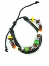 Mens Trendy Leather and Bead Multi Strand Bracelet