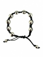Mens Silver Bead Bracelet with Black Cord