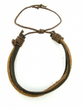 Brown Tone Leather Strand Mens Bracelet