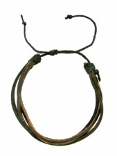 Mens Black & Brown Leather Strand Bracelet