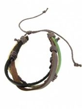 Mens Black, Brown & Green Leather Bracelet