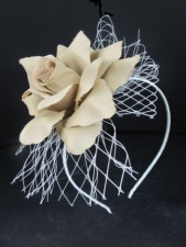 Latte Rose & Netting Hairband