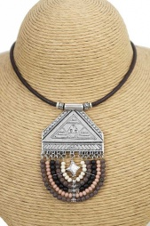 Silver and Brown Tone Bead Ethnic Style Necklace