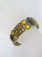 Brown Cats Eye & Crystal Elasticated Fashion Bracelet