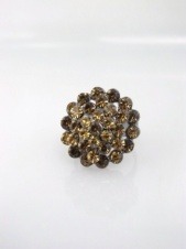 Brown Crystal Cluster Adjustable Cocktail Ring