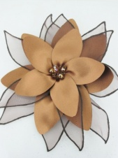 Brown Satin Flower Fascinator with Clip and Brooch Pin