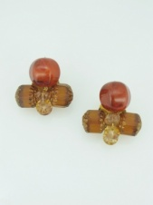Brown Tone Bead Clip Earrings