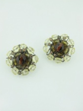 Brown Tone Flower Crystal and Bead Clip Earrings