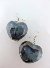 Brown with Blue Ceramic Large Heart Earrings