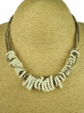 Burnished Gold and Faux Pearl Fashion Necklace