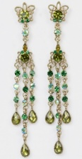 Burnished Gold Long Earrings with  Green Crystals