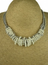 Burnished Silver and Faux Pearl Fashion Necklace