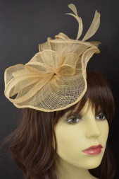 Champagne/Nude Sinamay Hairband & Clip Fascinator
