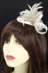 Champagne Gold Satin Loop & Feather Flower Comb Fascinator