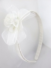 Childrens White Satin Aliceband with Ribbon and Rose